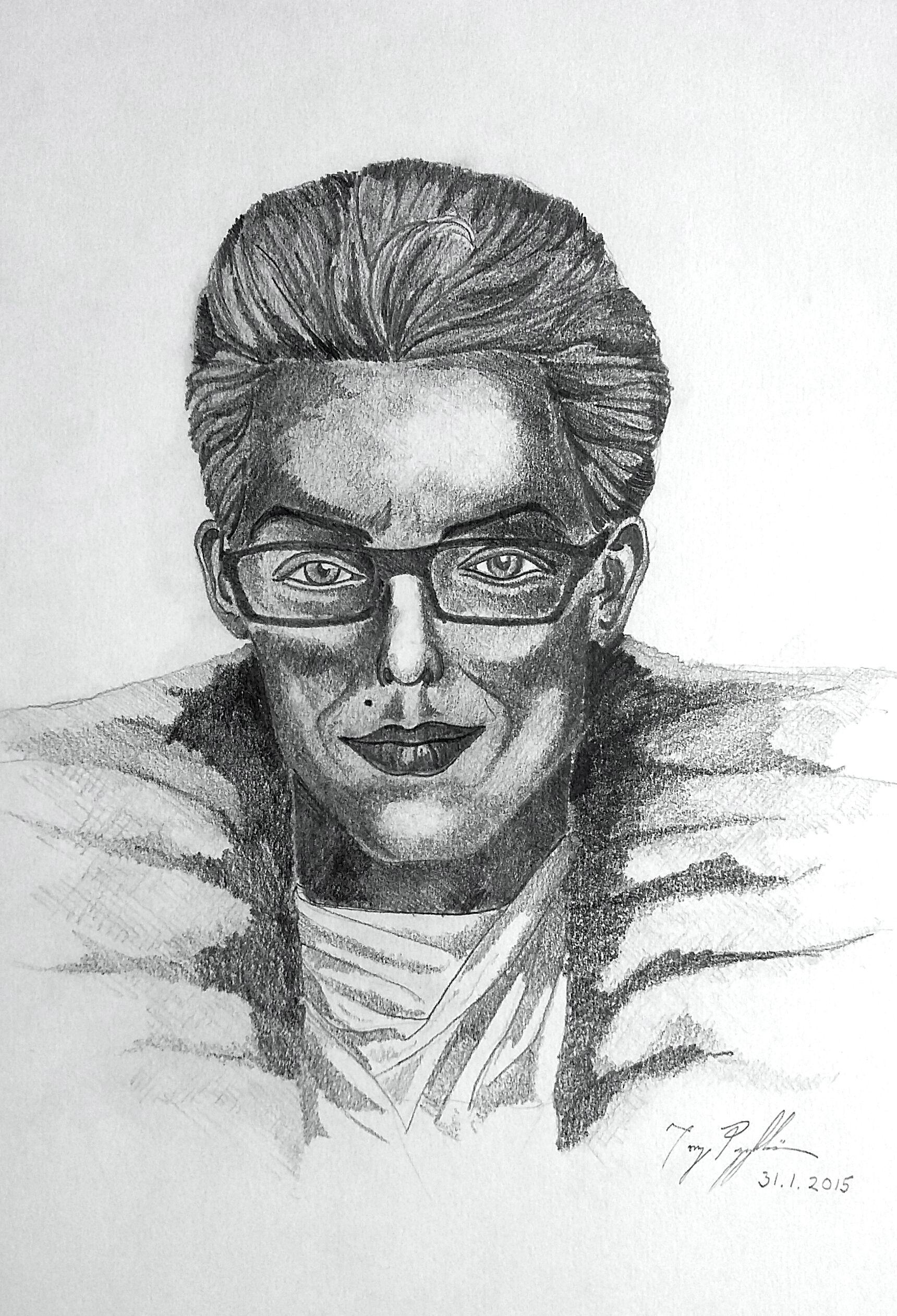 """Dramatic Self-portrait"", pencil on paper, 20x30cm, 2015"