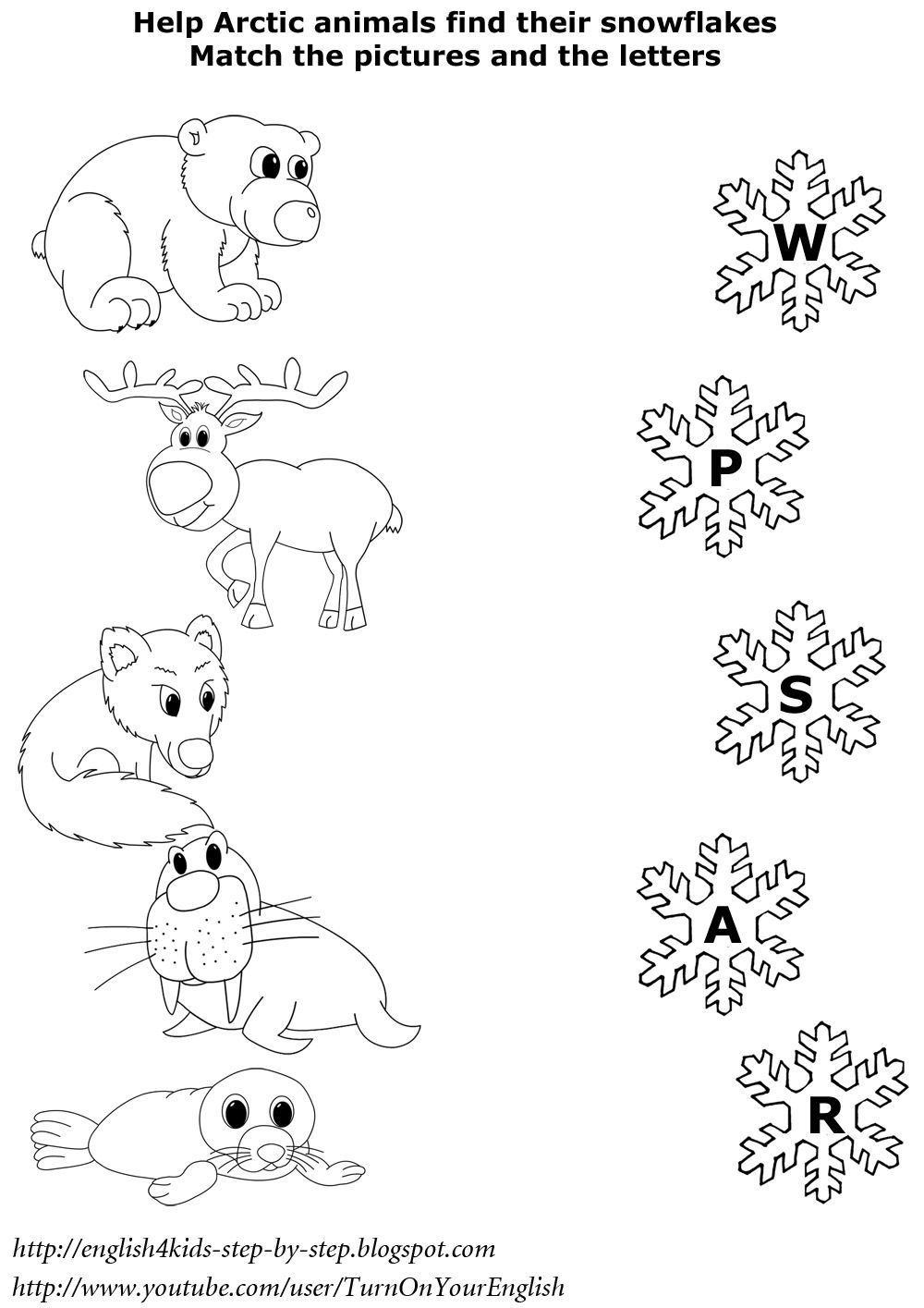 north animals matching worksheet esl worksheet