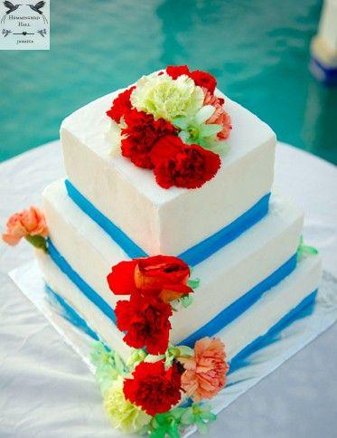 Tropical Garden Themed Wedding Cake At Hummingbird Hall Jamaica Garden Wedding Cake Themed Wedding Cakes Fresh Flower Cake