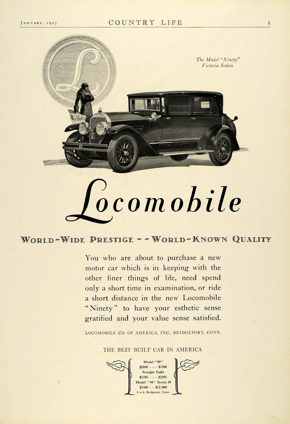 1927 Ad Antique Locomobile Model Ninety Victoria Sedan Flapper ...