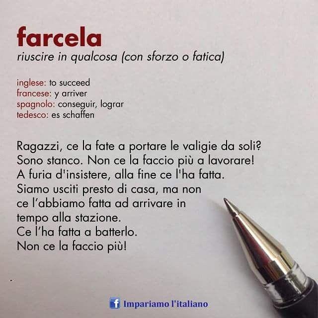 Farcela Italiano Modididire Learningitalian Learnitalian