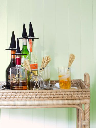 Image result for Witch Hat Bottle Toppers and Broomstick Drink Stirrers