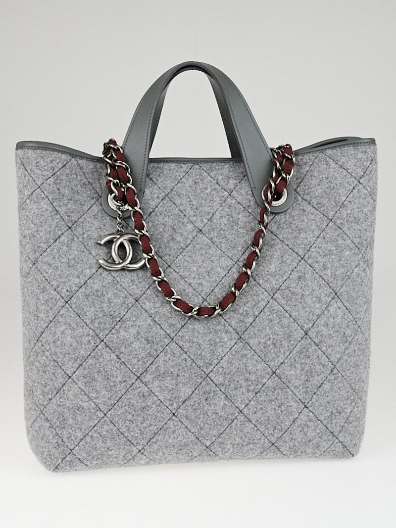 c555fb393b81ed Chanel Grey Quilted Pop Felt Medium Shopping Tote Bag - Yoogi's Closet