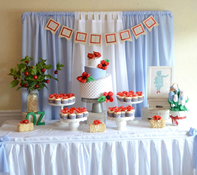Somewhere Over The Rainbow Baby Shower Cake Table Cake Table Decorations Baby Shower Party Planning