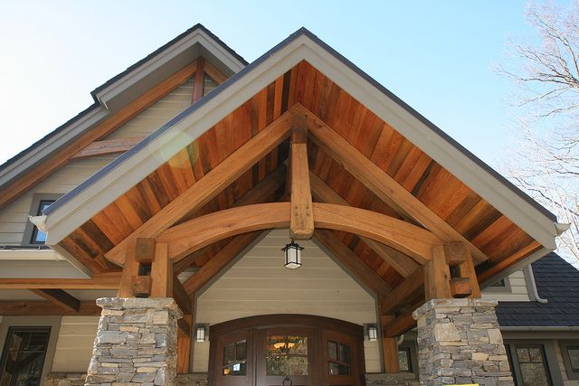 Timbertrusses reclaimed cypress exterior curved bottom for Truss designs for homes