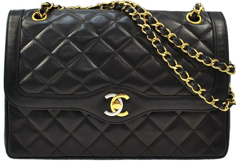 Chanel Designer Handbags Black Matelasse Quilted Leather Double Flap Shoulder Bag Gold Chain Purse