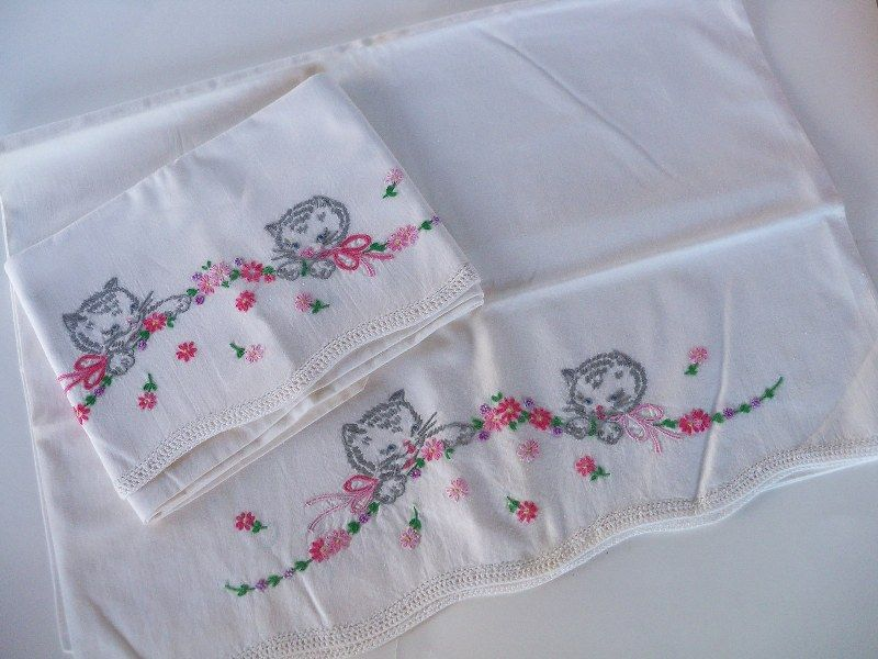 Pattern Inspiration * Vintage Pillowcases Embroidered with Kittens *  Perfect for baby bibs or embroidery hoop nursery art!