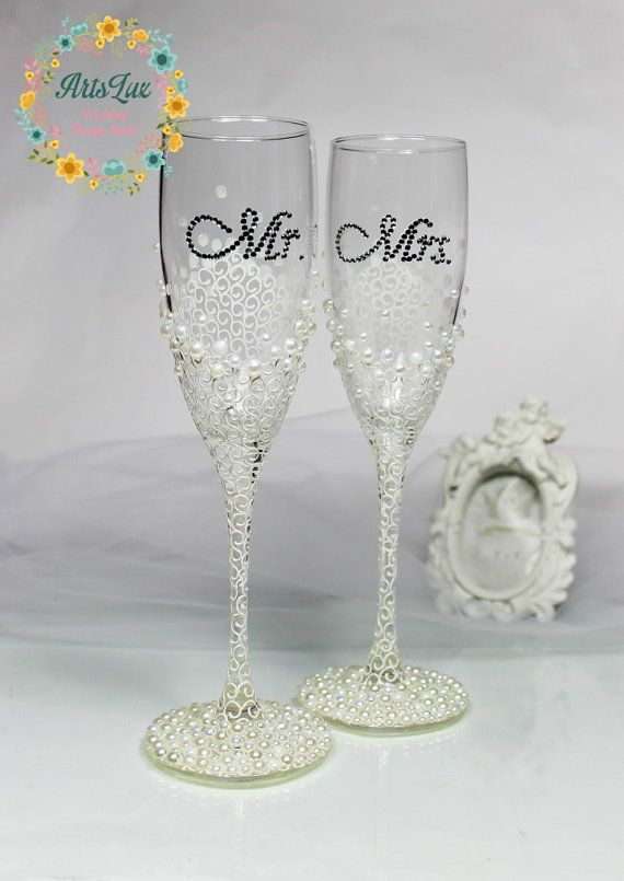 Personalized Wedding Champagne Gles In Ivory White Hand Painted Flutes Pearls Fav