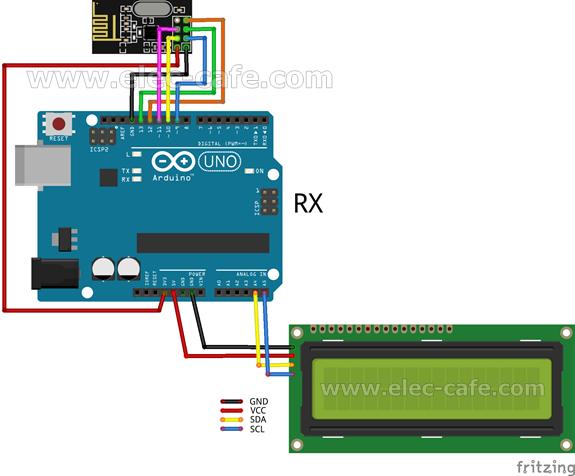 Arduino Wireless Temperature LCD Display (nRF24L01+ DHT11