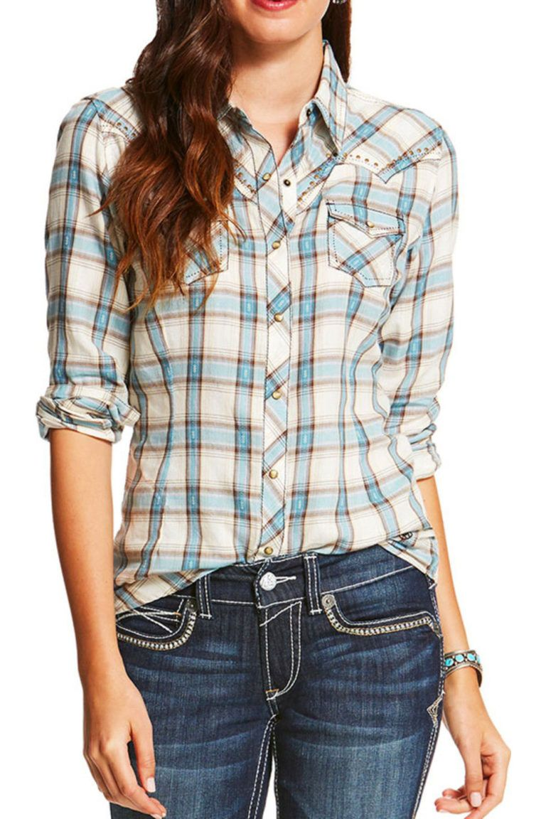 women's fitted plaid shirt