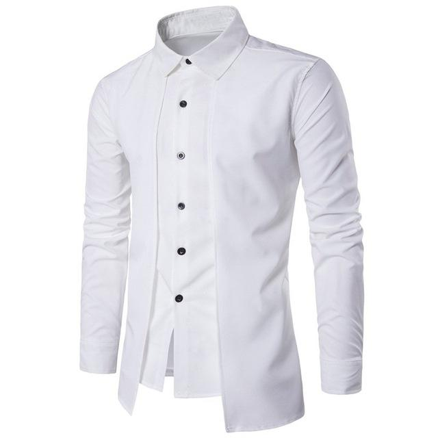 Men S Long Sleeve Formal Business Casual Shirt W Outer Piece And Turn Down Collar Tuxedo Shirt Men Casual Shirts Casual Shirts For Men