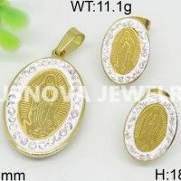 Brilliant gold plated Simple Exquisite owl set Madonna Pendant and Stainless Steel Earrings  59068320260-180