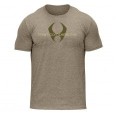 train compete live dual-blend crew tee (light brown/tan)