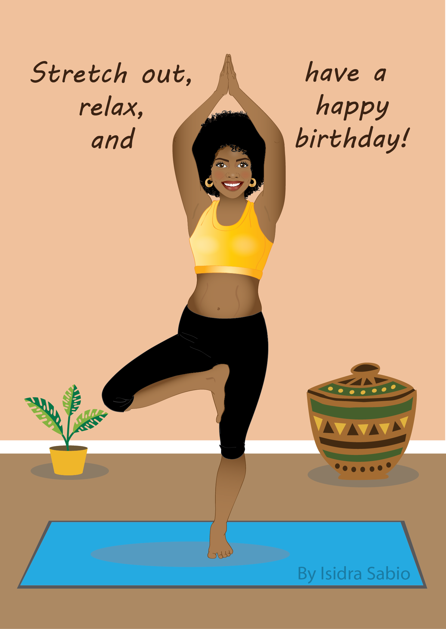 COMING SOONThis Afrocentric Yoga birthday card for woman shows a