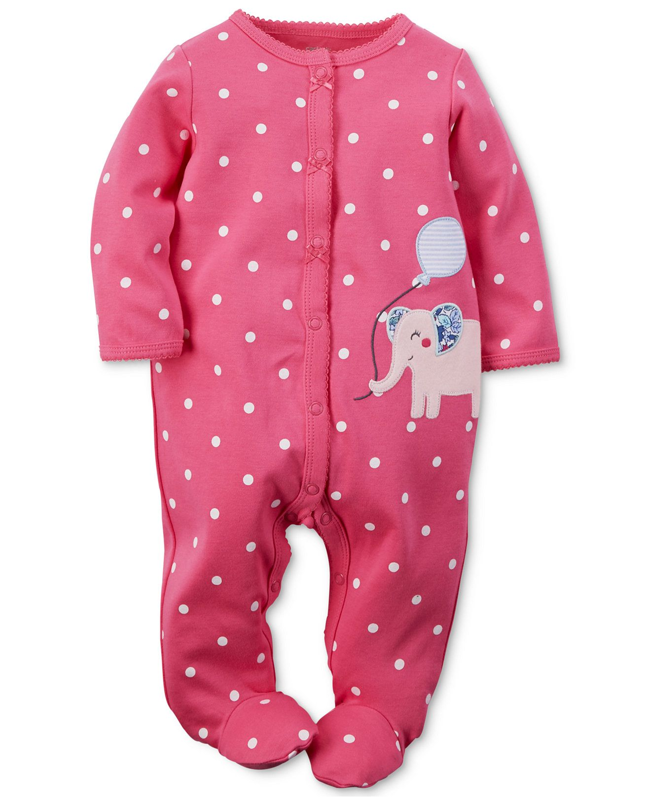 856b22f8 Carter's Baby Girls' Pink Elephant Coverall - Baby Girl (0 ...