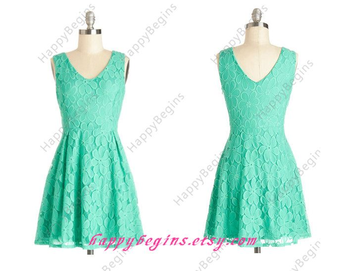 Short Turquoise/mint/coral Lace Bridesmaid Dress by HappyBegins ...