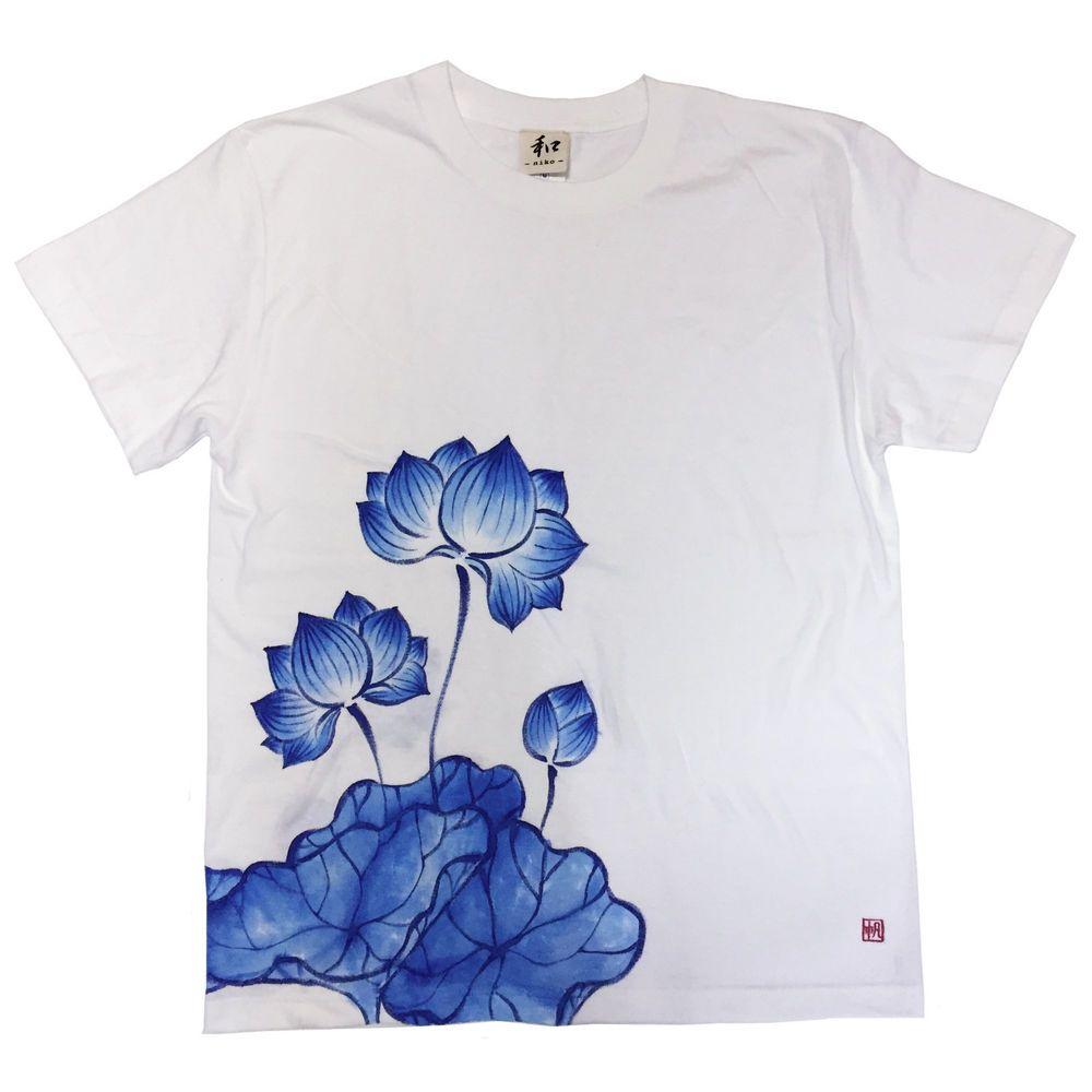 Lotus flower japan hand painted handmade white blue t shirt mens lotus flower japan hand painted handmade white blue t shirt mens cool 56oz izmirmasajfo Images