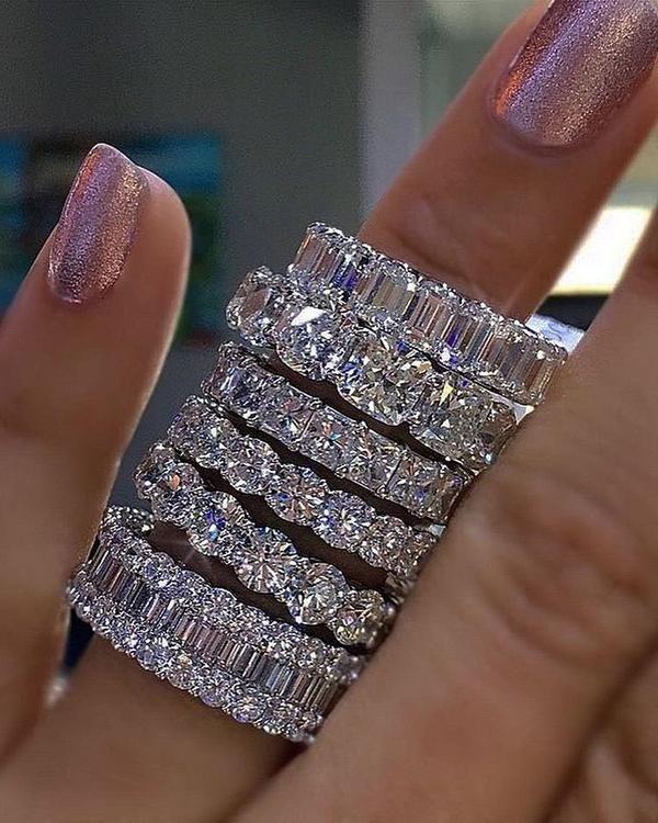 Photo of 925 PRATA PAVIMENTO DEFINIDO QUADRADO COMPLETO Diamante Simulado CZ ETERNITY BAND ENGAJAMENTO CASAMENTO Anéis de Pedra Tamanho 5,6,7,8,9,10,11,12
