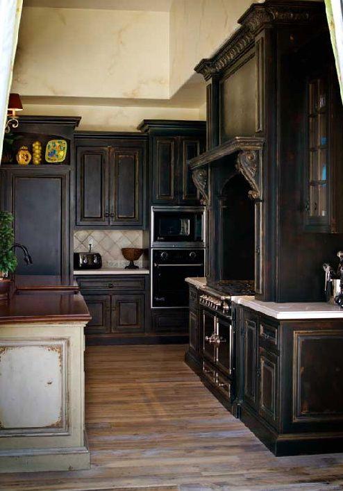 Dark Antique Cabinets Black Kitchen Cabinets Kitchen Cabinet Colors Black Kitchens