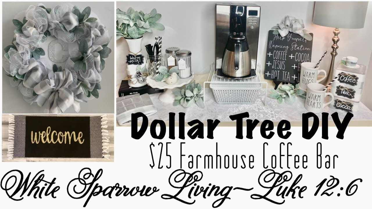 Utube 2020 Christmas Coffee Cicoa Bar DOLLAR TREE DIY | $25 BUFFALO CHECK FARMHOUSE WINTER COFFEE BAR
