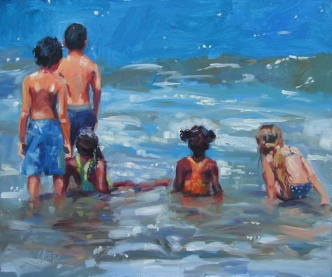 Dolphin Watch, painting by artist Robin Cheers