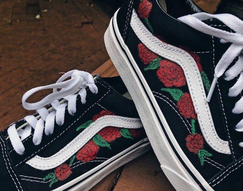 Rose painted old skool vans | Etsy | Custom shoes, Vans, Shoes
