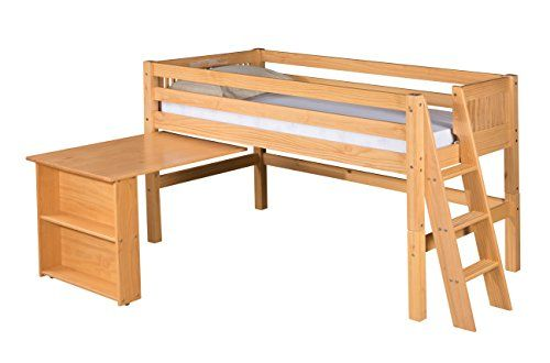 Camaflexi Mission Style Solid Wood Low Loft Bed with Retr...