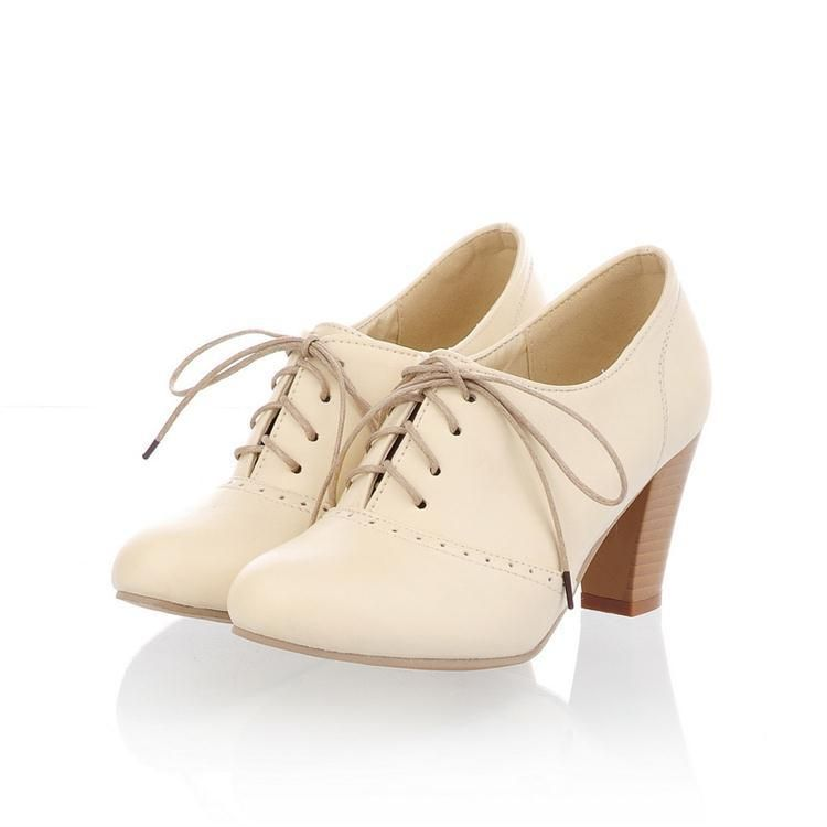 2013 New Women S Oxford High Heel Shoes Vintage Solid