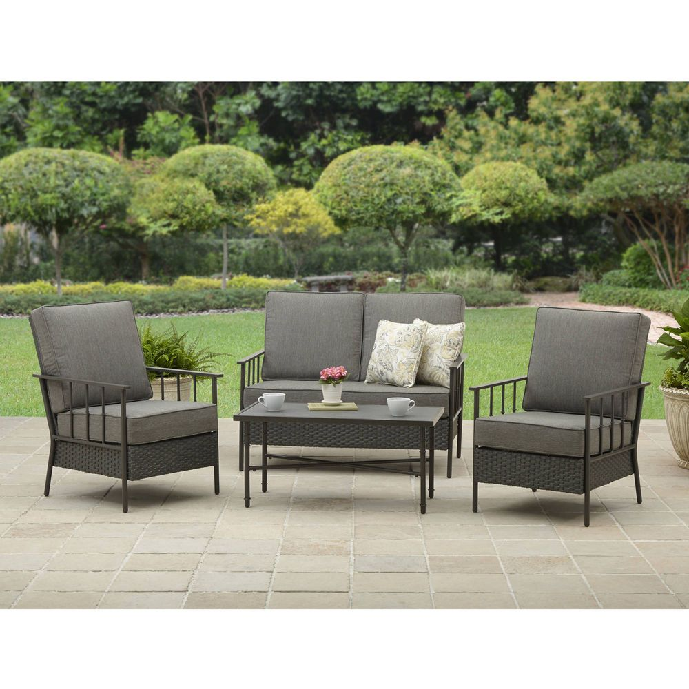 Patio Conversation Set 4 Piece Outdoor Cushioned Chairs Loveseat ...