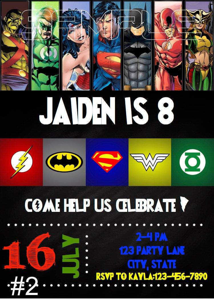 Justice League Birthday Invitation DIGITAL FILE by MunchDoodles – Digital Birthday Party Invitations