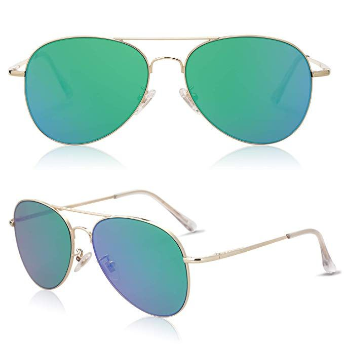 7073ee5d23 Amazon.com  SOJOS Classic Aviator Mirrored Flat Lens Sunglasses Metal Frame  with Spring Hinges SJ1030 with Silver Frame Silver Mirrored Lens  Clothing