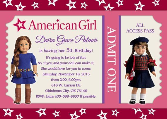 Cool Free Template American Girl Doll Birthday Party Invitations