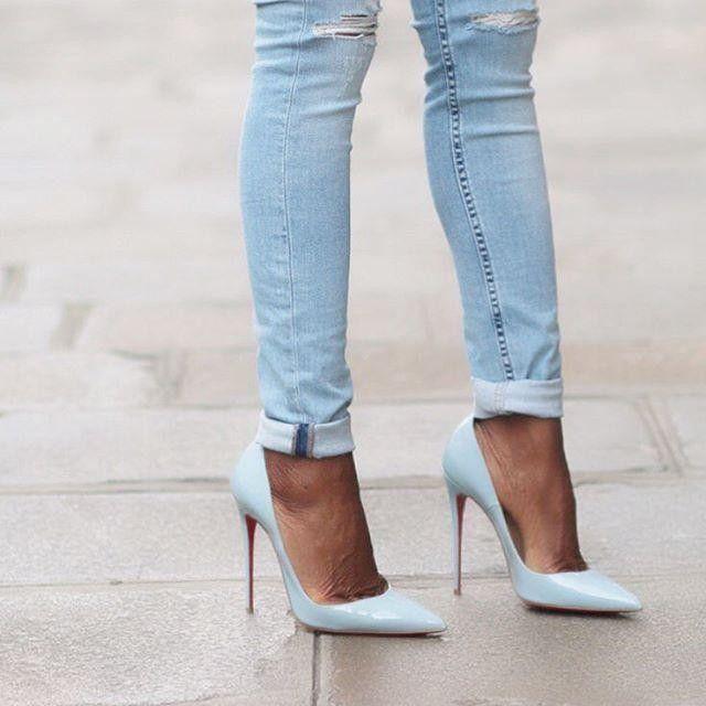 christian louboutin baby blue heels