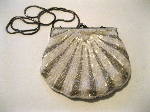 Seed Bead Clutch Purse or Shoulder Bag White and Silver Wedding Vintage Tube Beads -FL