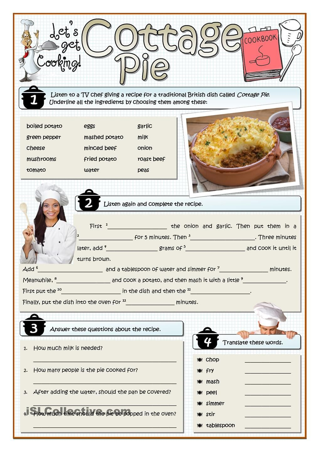 Cottage pie listening esl pinterest cottage pie pies and this listening actvity deals with recipes cooking vocabulary and british culture and passive script key and audio file link provided forumfinder Choice Image