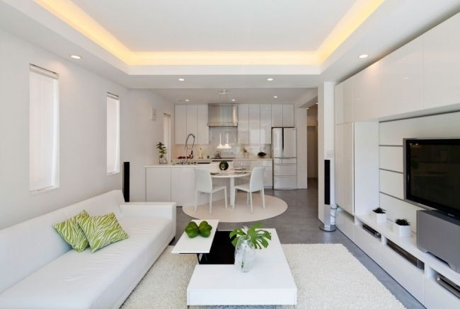 Moderne Zen Kuche Wohnzimmer Weisse Abgehangte Decke Wohnung