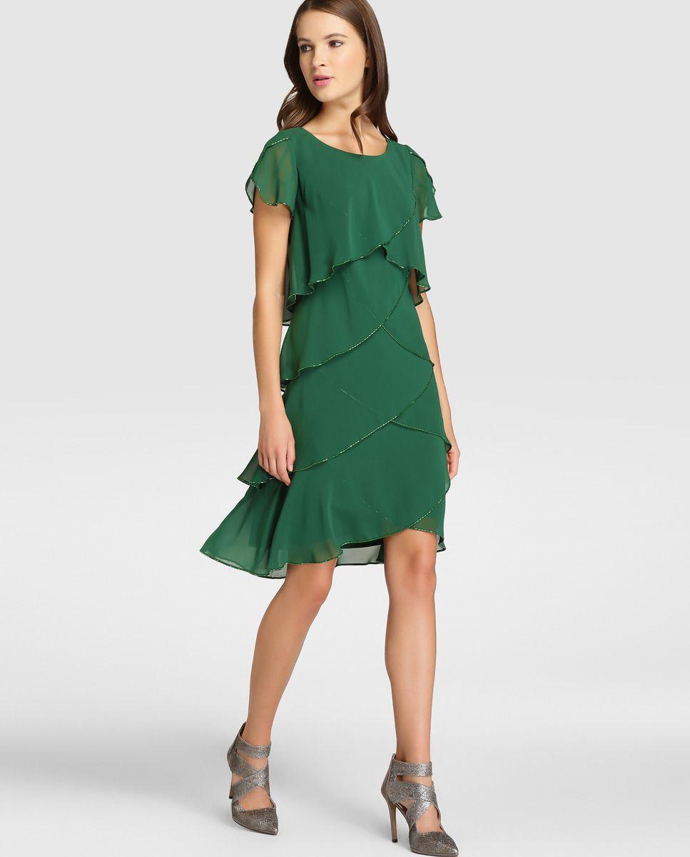 1d9b965aa Vestido de mujer Fiesta El Corte Inglés con capas en color verde · Fiesta  El Corte Inglés · Moda · El Corte Inglés