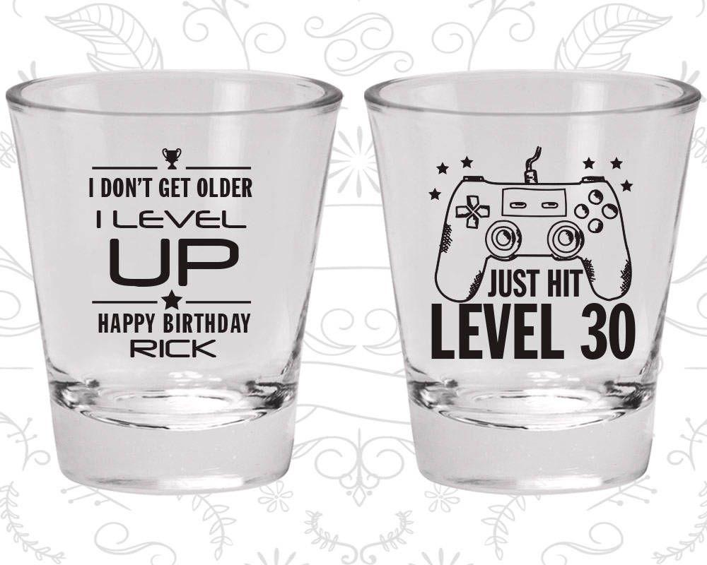 30th birthday shot glass video game birthday shot glass