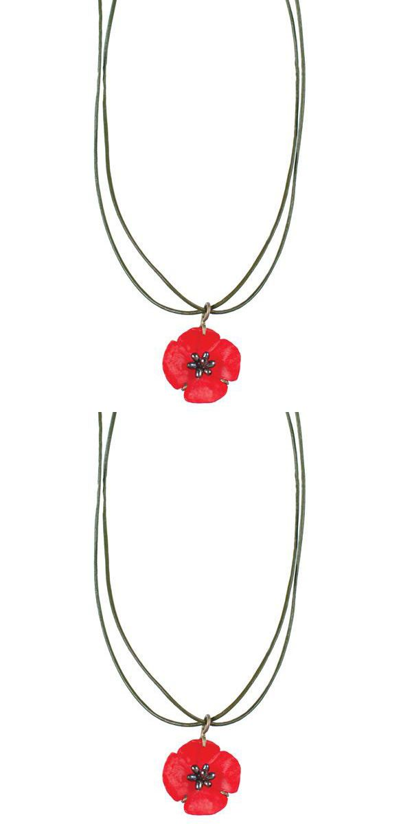 Brooches Pins 152807: Red Poppy Leather Necklace By Michael Michaud