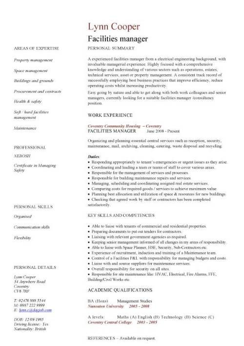 Facilities manager CV sample, ultimately delivering reliable, safe