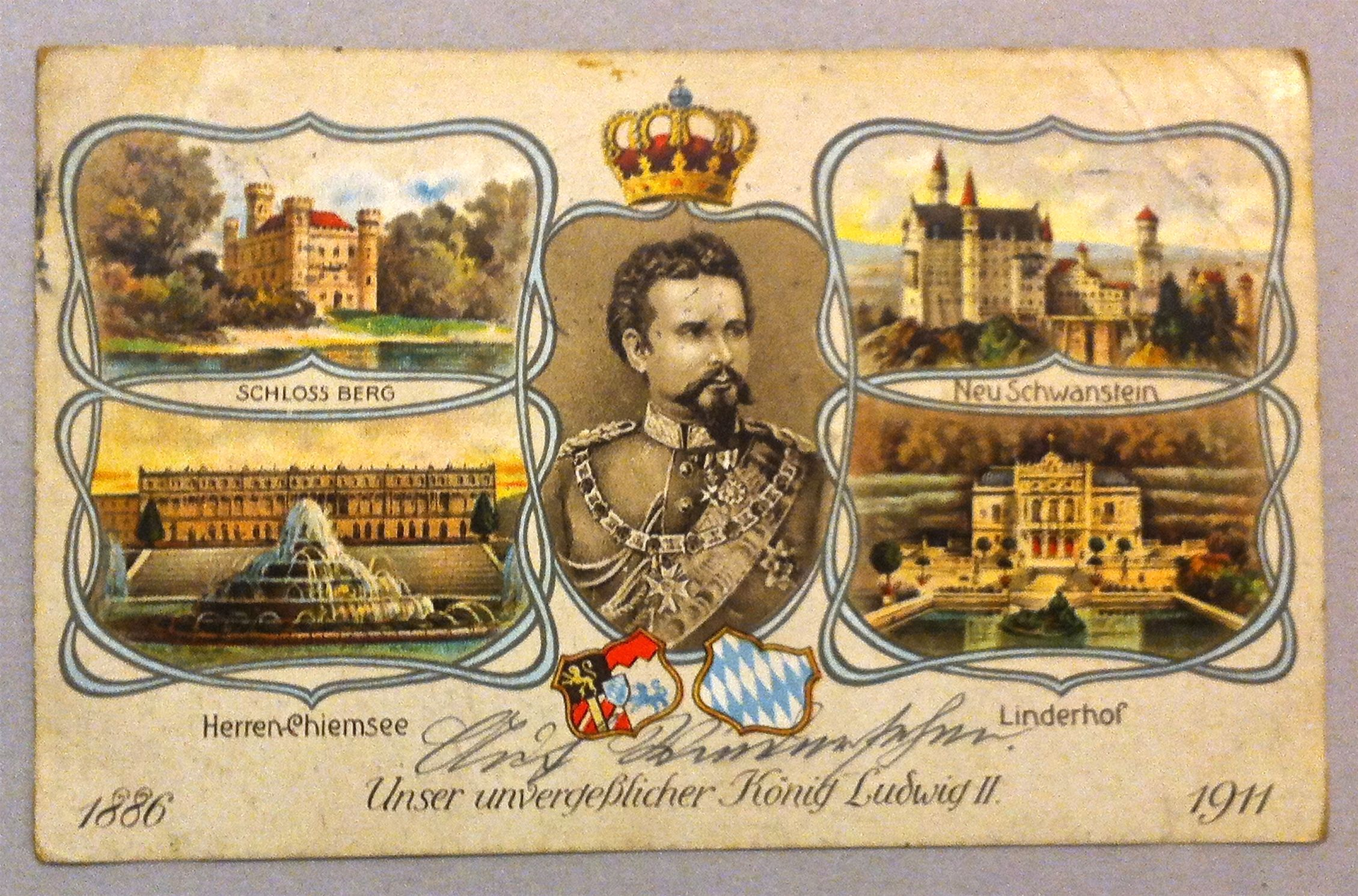 Orginal Alte Postkarte Von 1914 Unser Unvergesslicher Konig Ludwig Ii 1886 1911 Schloss Berg Neu Schwanstein Herren Chiemsee Postkarten Linderhof Schwanstein