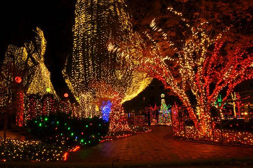 take a trip to the downtown fayetteville square to see the christmas lights in the wintertime