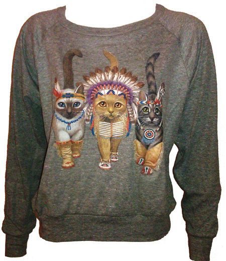 "Three Native Kitty Cats Pullover Slouchy ""Sweatshirt""  Top American Apparel Gray S. $29.50, via Etsy."