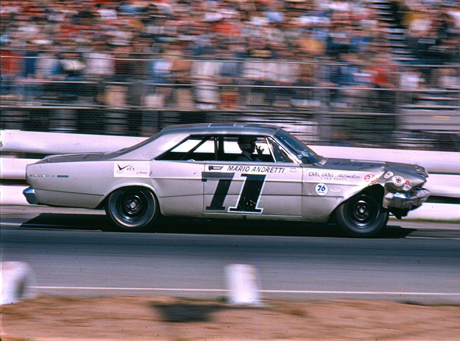 Mario Andretti Riverside 1966 With Front End Modifications To His New Ford Galaxie