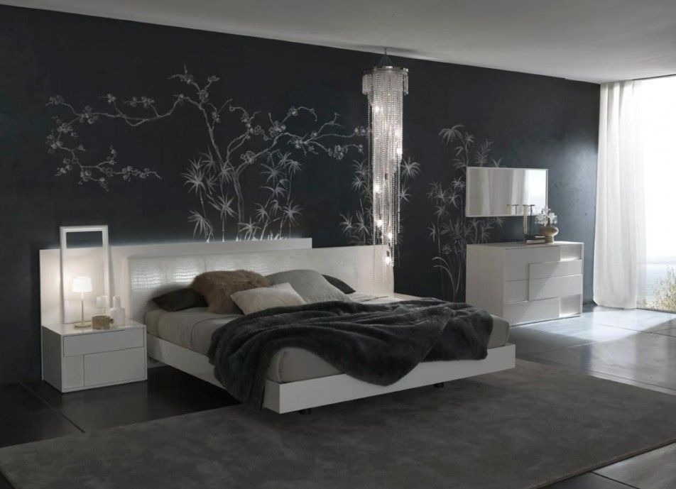 [Bedroom] : White Velvet Button Tufted Queen Headboard Sweet Grey Fur Rug Synthetic Flooring Wall Paper Beautiful Pendant Lamp Wall Mirror Furniture Large Window White Curtain