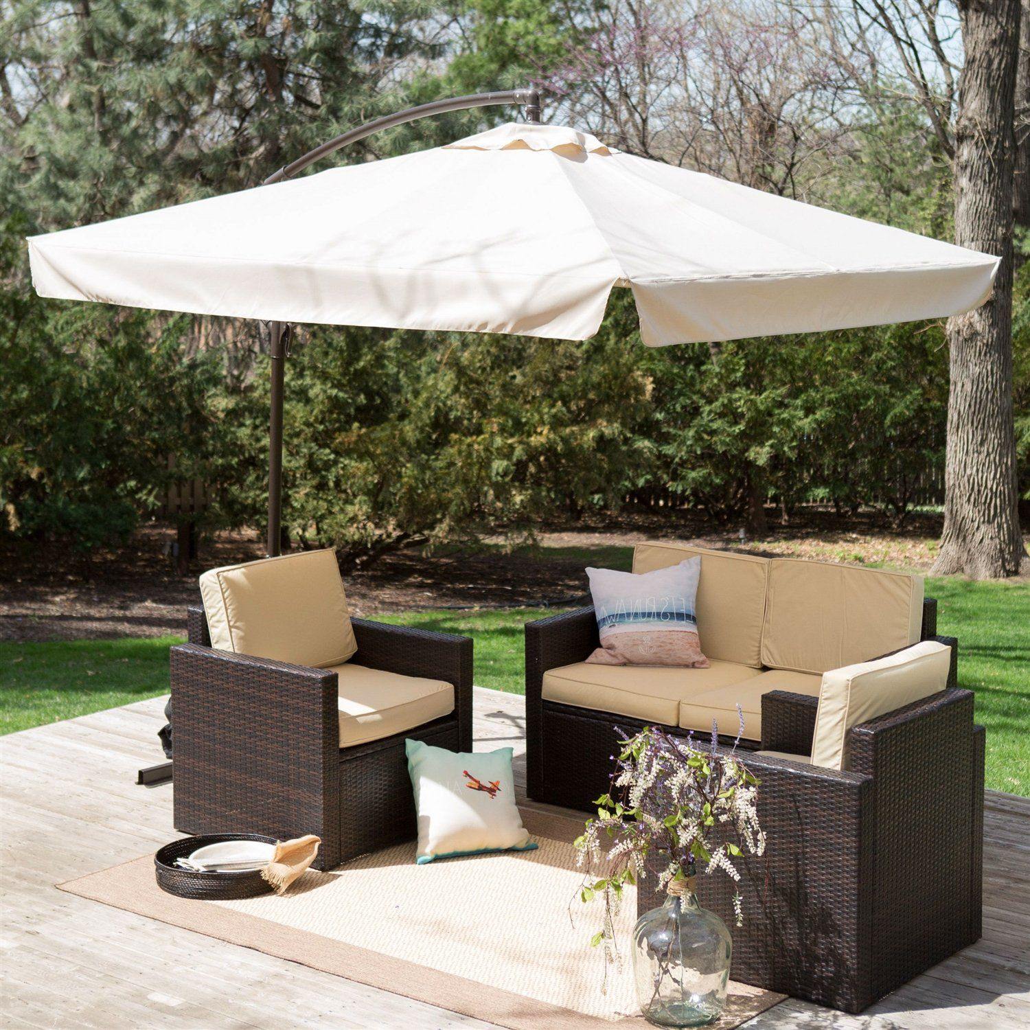 8 Ft Square Offset Patio Umbrella Gazebo With Beige Canopy Shade