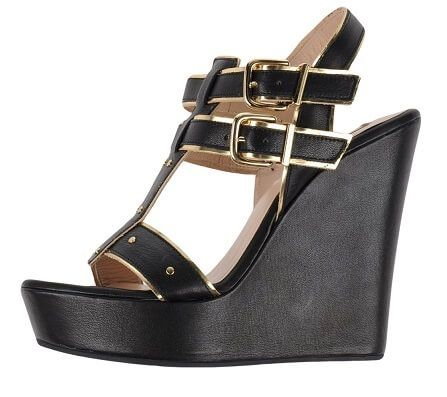 online store 4affa ac746 High wedge sandal with black & gold buckle strap detailing ...