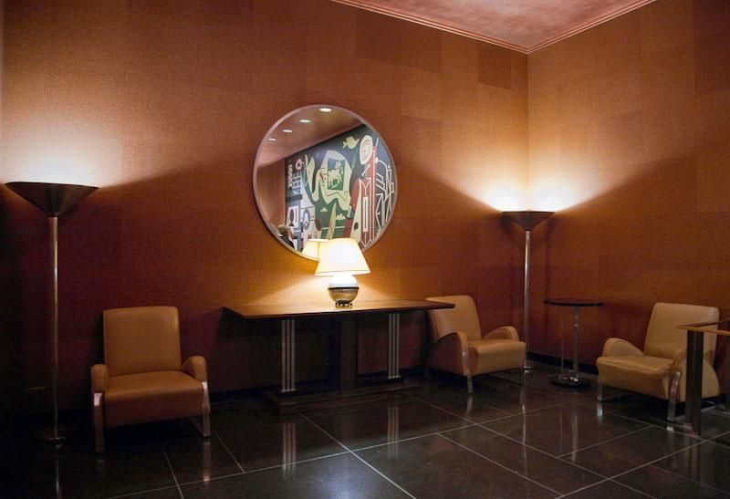 Mens room lounge area designed in 1932 by donald deskey radio city music hall