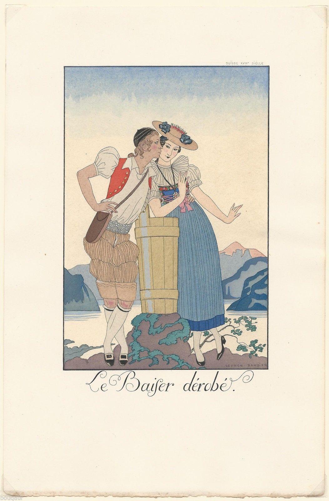 Pochoir Original George Barbier LE Baiser Dérobé CA 1920 Falbalas Fanfreluches | eBay