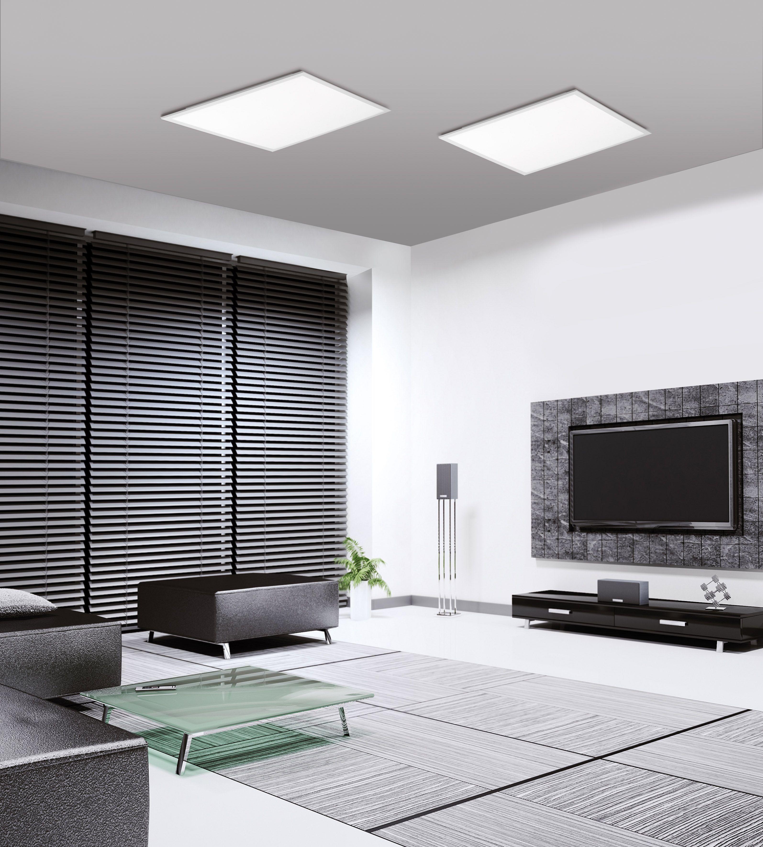 Led Panel In Weiss Quadratisch Und Mit Lichtfarbsteuerung Inkl Dimm Und Memoryfunktion Led Deckenleuchte Beleuchtung Wohnzimmer Decke Moderne Wohnzimmergestaltung